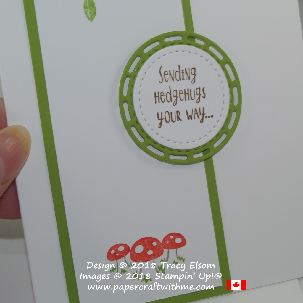 Close up of die-cut sentiment layers created using the Stitched Shapes and Stitched Labels Framelits from Stampin' Up!