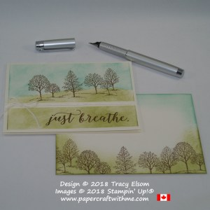 Split scene card with a stamped image from Lovely As A Tree and 'just breathe' sentiment from Colorful Seasons over a sponged background.