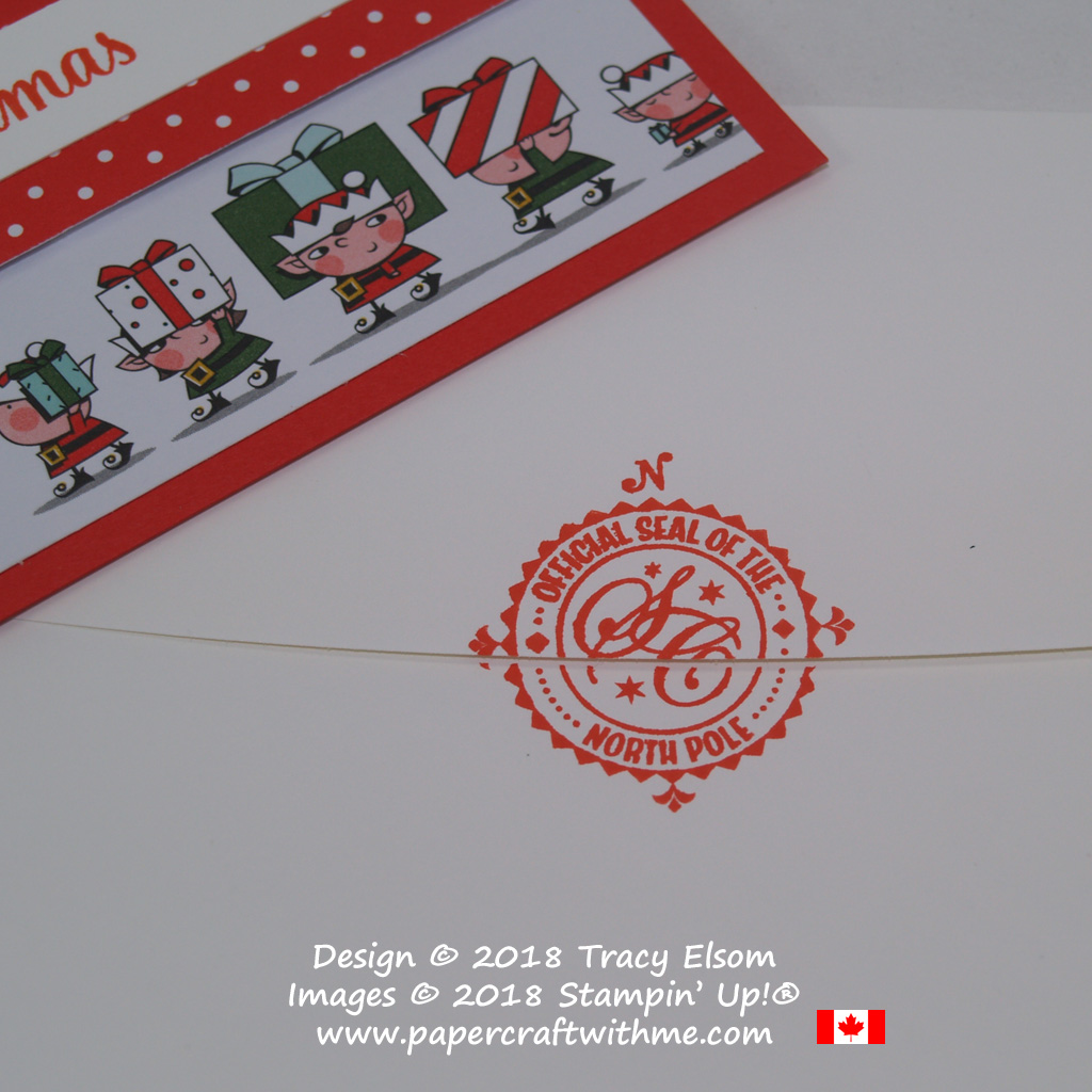 Christmas card envelope with 'Official seal of the North Pole' stamped across the flap. The image comes from the Signs of Santa Stamp Set from Stampin' Up!