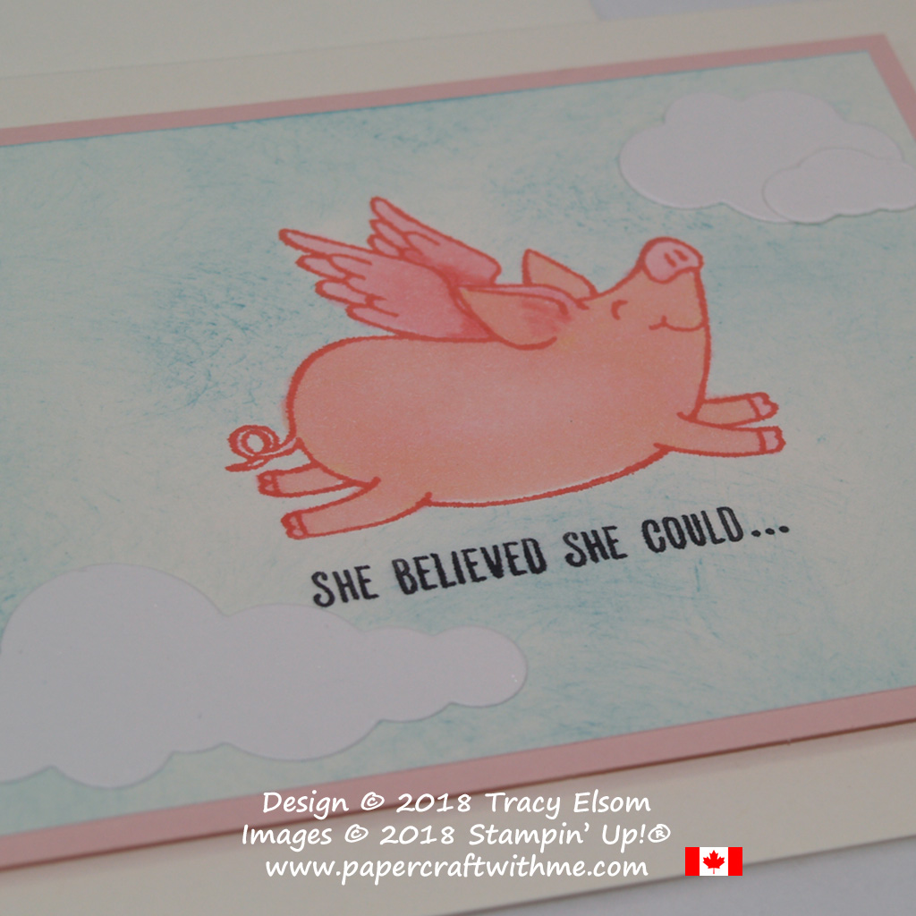 Pigs can fly as this card created using the This Little Piggy Stamp Set from Stampin' Up! shows.