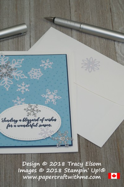 Pretty blue Christmas card created using the Snow is Glistening Stamp Set, and sparkling snowflakes from the Snowfall Thinlits Dies from Stampin' Up!