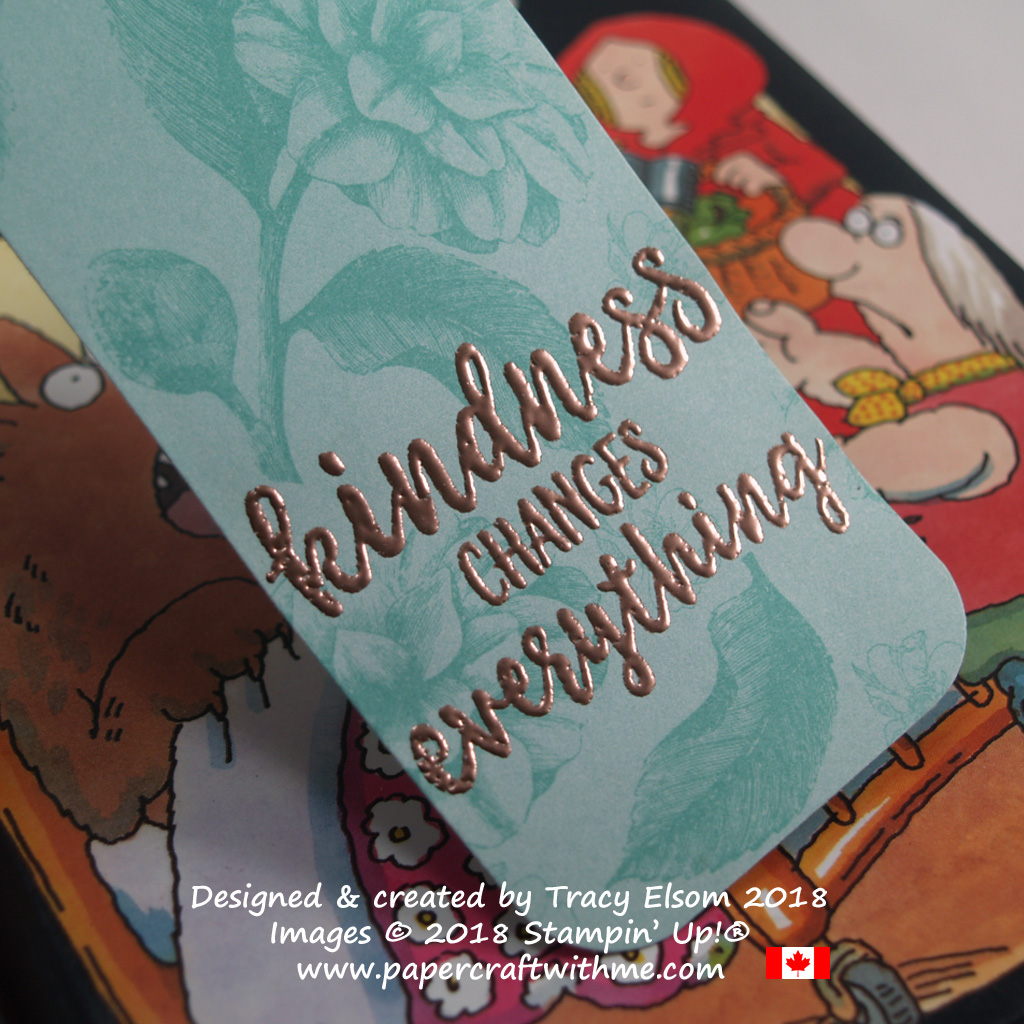 Close up of bookmark with copper embossed Kindness Changes Everything sentiment from the Abstract Impressions Stamp Set from Stampin' Up!