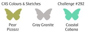 CAS Colours & Sketches Challenge CC&S color292 - Pear Pizzazz, Gray Granite and Coastal Cabana (Oct 2-8, 2018)