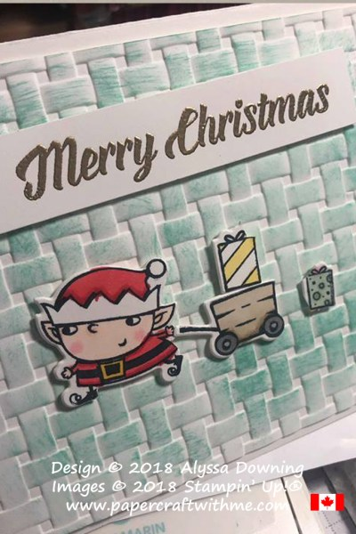 The finished 'Merry Christmas' pop-up card designed and made by Alyssa (aged almost 8) using products from the Santa's Workshop suite from Stampin' Up!