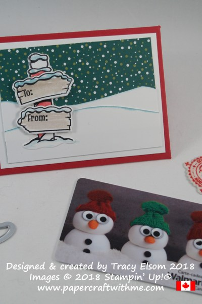 Gift card envelope with North Pole sign created using the Signs of Santa Stamp Set and coordinating Santa's Signpost Framelits Dies from Stampin' Up!