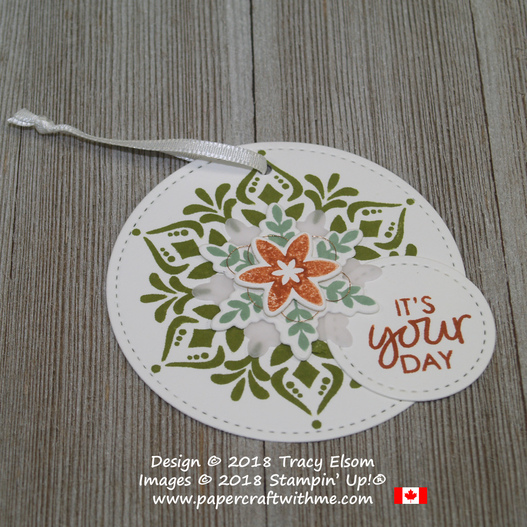It's your day gift tag created using the Happiness Surrounds Stamp Set and coordinating Snowfall Thinlits Dies from Stampin' Up!