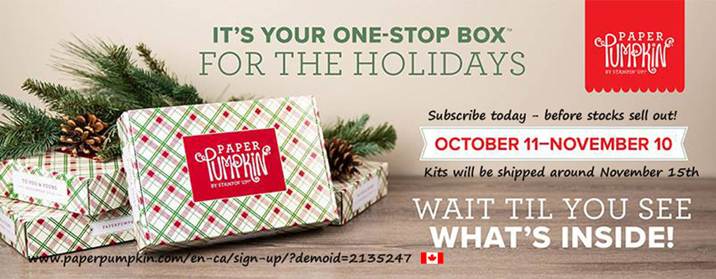Subscribe now to get the Christmas-themed Paper Pumpkin Kit delivered to your door in Canada