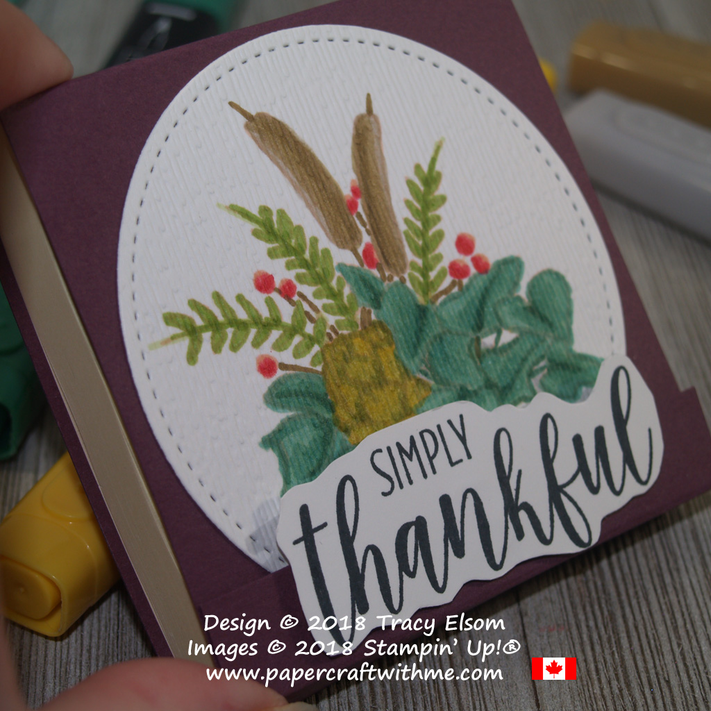 """Close up of 3"""" x 3"""" Post-It Note Pad decorated with simply thankful (altered) sentiment and floral image from the Country Home Stamp Set from Stampin' Up!"""