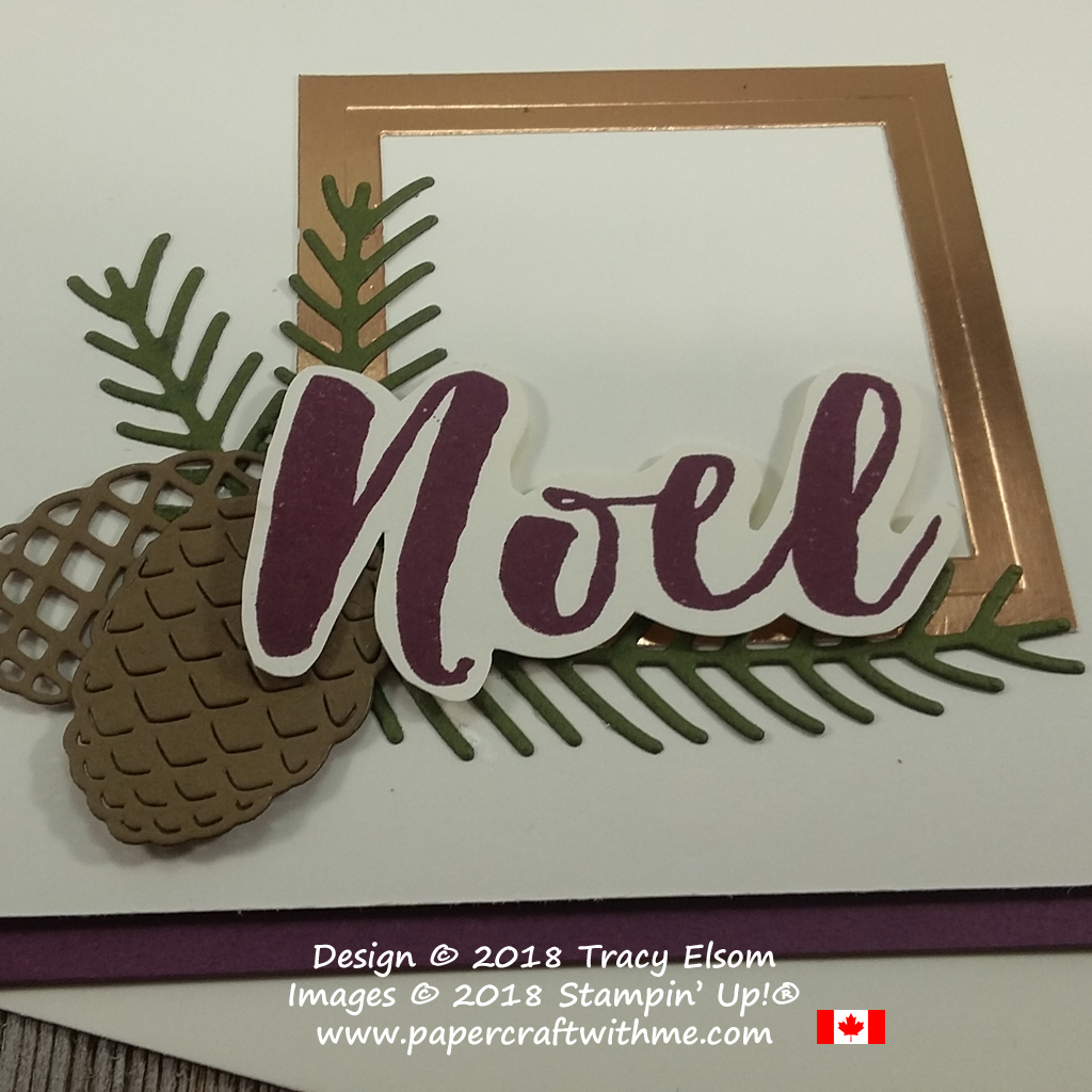 Close up of card with noel sentiment, pine branches and cones from the Christmas Pines Stamp Set and Pretty Pines Thinlits Dies from Stampin' Up!