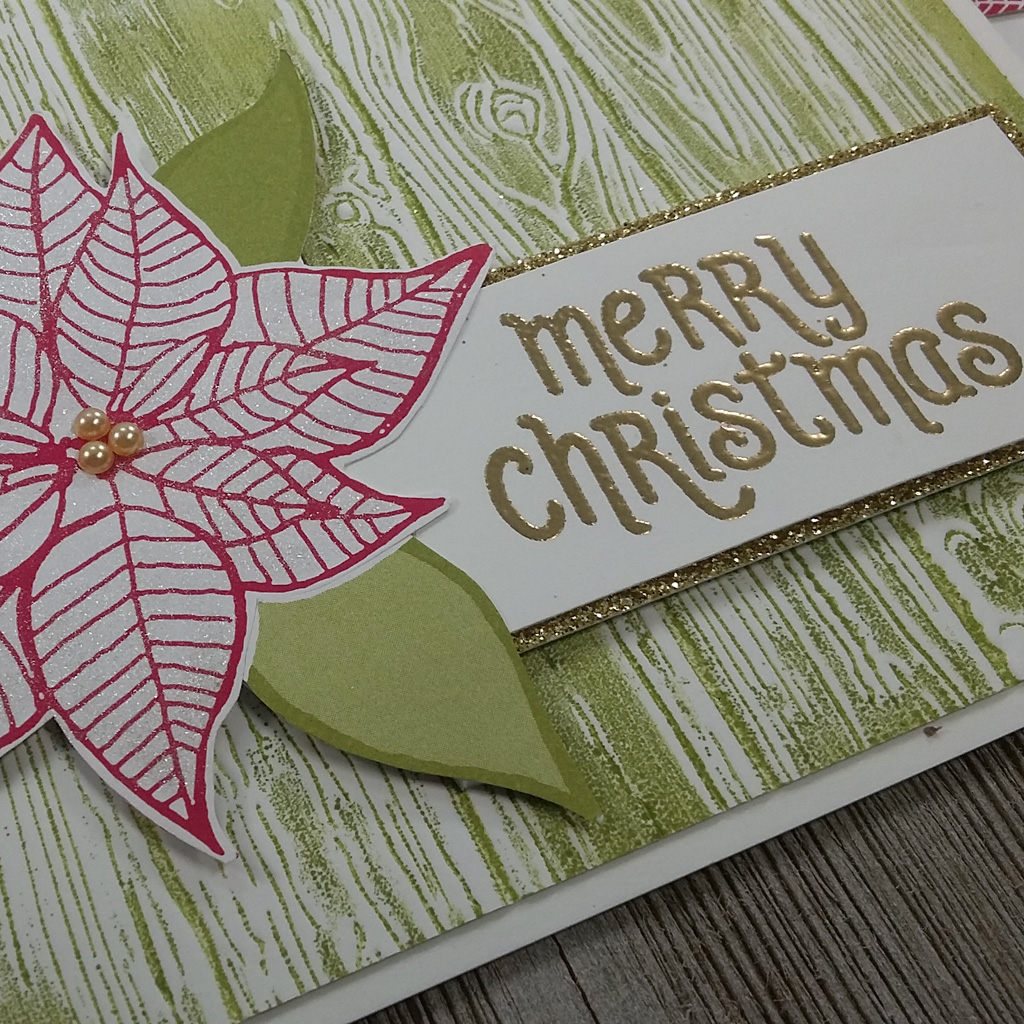 Close up of Christmas card with poinsettia from the Under The Mistletoe Designer Series paper and sentiment from the Mistletoe Season Stamp Set from Stampin' Up!