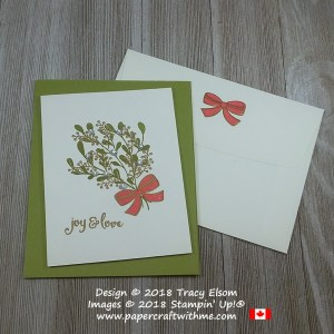 Christmas card with mistletoe bouquet and joy and love sentiment from the Mistletoe Season Stamp Set from Stampin' Up!