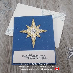 Christmas card with Star of Wonder sentiment from the Star of Light Stamp Set and layered star created using the Starlight Thinlits from Stampin' Up!