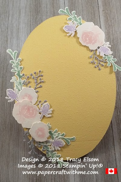 Decorative springtime plaque with floral sprays created using the First Frost Stamp Set and Frosted Bouquet Framelits from Stampin' Up!