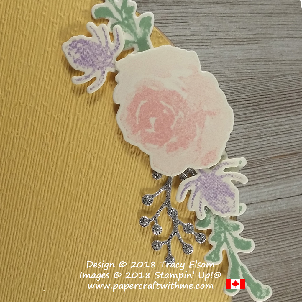Small floral spray created using the First Frost Stamp Set and Frosted Bouquet Framelits from Stampin' Up!