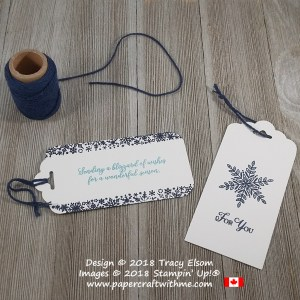 Two snowflake gift tags created with simple stamping using the Snow Is Glistening Stamp Set from Stampin`Up!
