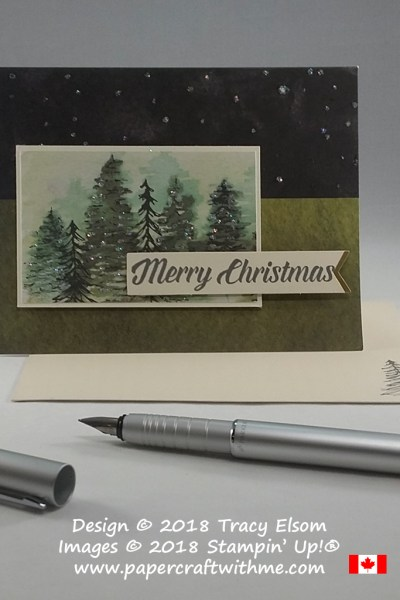 Sparkling trees alternate Christmas card idea for the Timeless Tidings Project Kit from Stampin' Up!