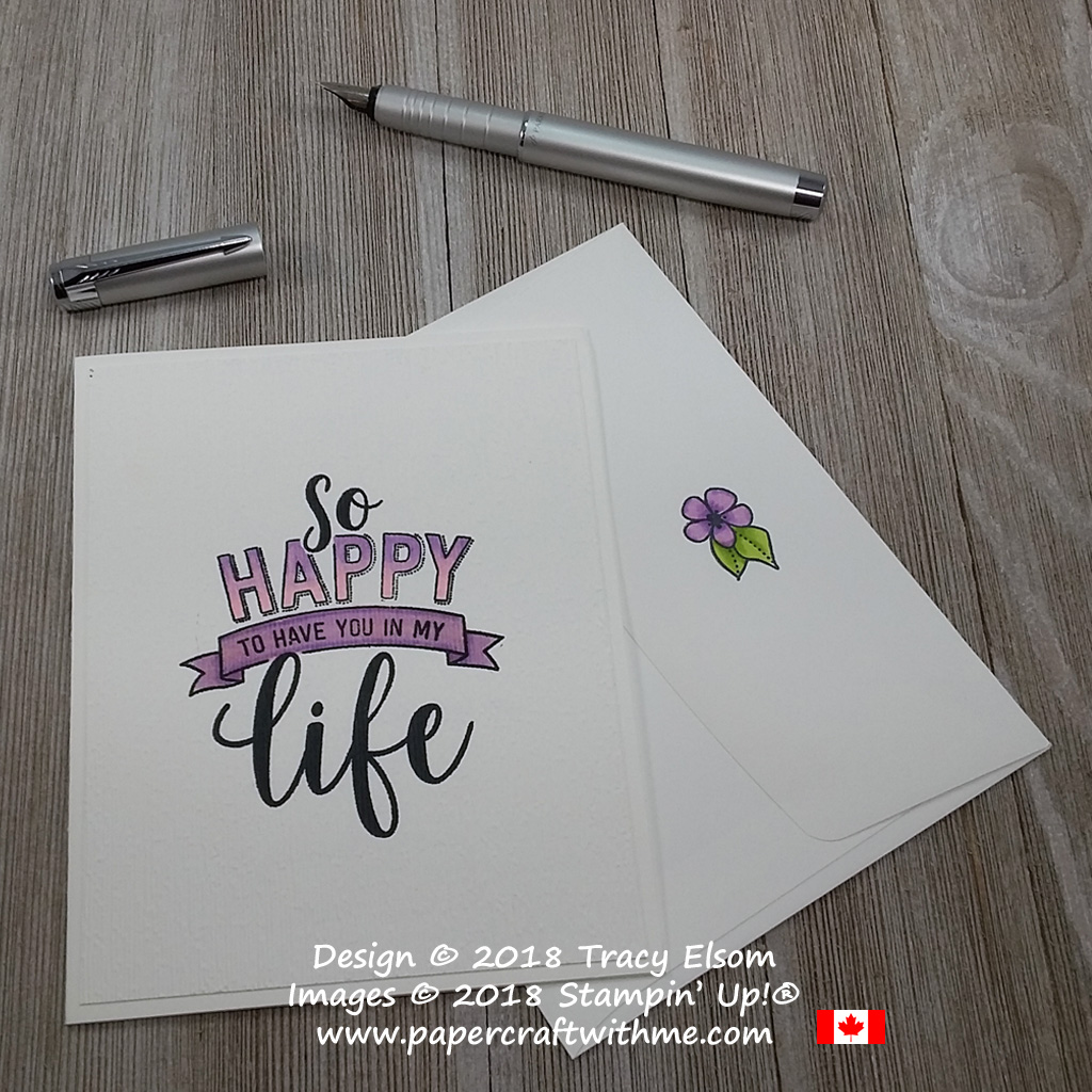 Clean and simple card with ombre effect 'so happy to have you in my life' sentiment created using Stampin' Blends and the Amazing Life Stamp Set from Stampin' Up!