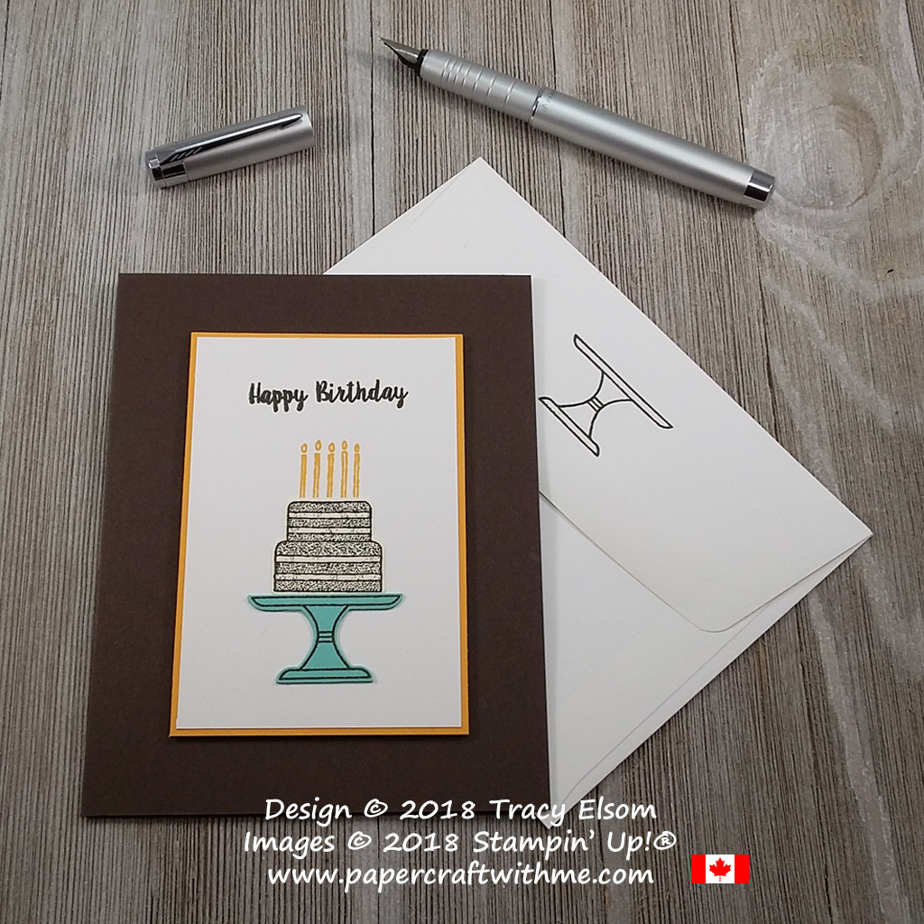 This simple card with a chocolate birthday cake was created using the Piece of Cake Stamp Set and coordinating Cake Builder Punch from Stampin' Up!