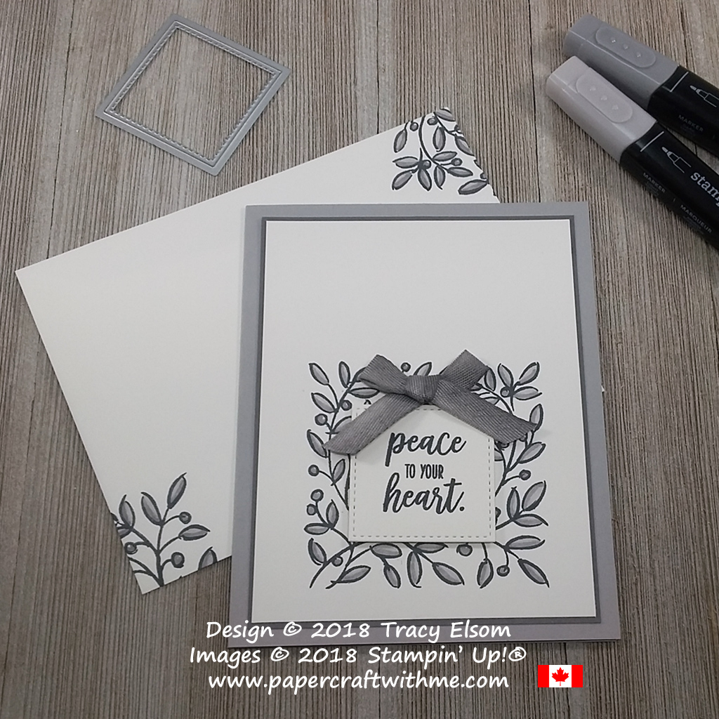 Grey peace to your heart card created using the Feathers & Frost Stamp Set from the Stampin' Up! 2019 Retiring List.