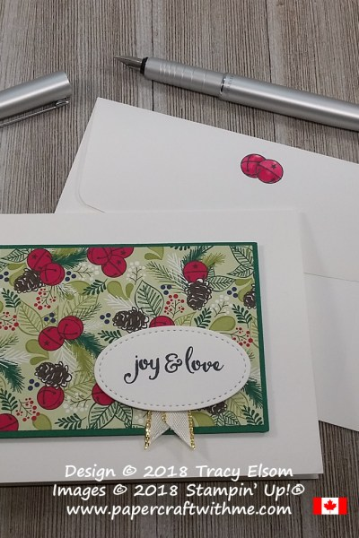 Simple Christmas card with jingle bells design from the Under the Mistletoe paper (DSP) and joy and love sentiment from the Mistletoe Season Stamp Set from Stampin' Up!