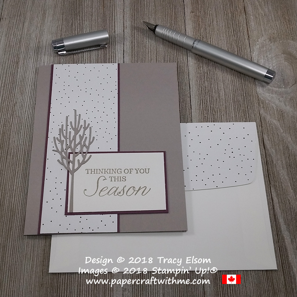 Die-cut winter trees created using the In The Woods Framelits Dies from Stampin' Up! are a poignant addition to this 'thinking of you this season' card.