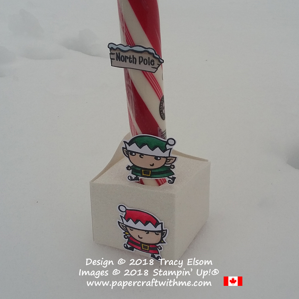 Close up of north pole candy cane decorated using images from the Signs of Santa Stamp Set and Stampin' Blends alcohol markers from Stampin' Up!