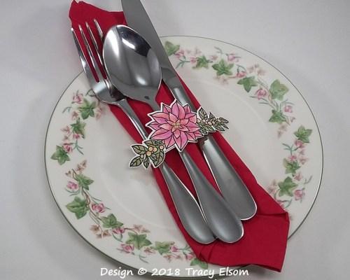 Poinsettia Silverware Wrap