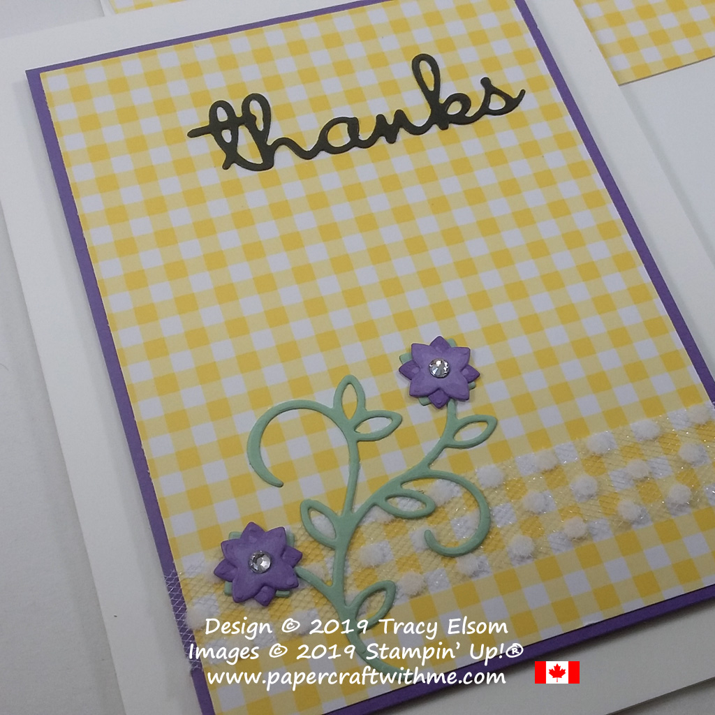 Close Up of gingham thank you card created using the Well Written Framelits Dies from Stampin' Up!