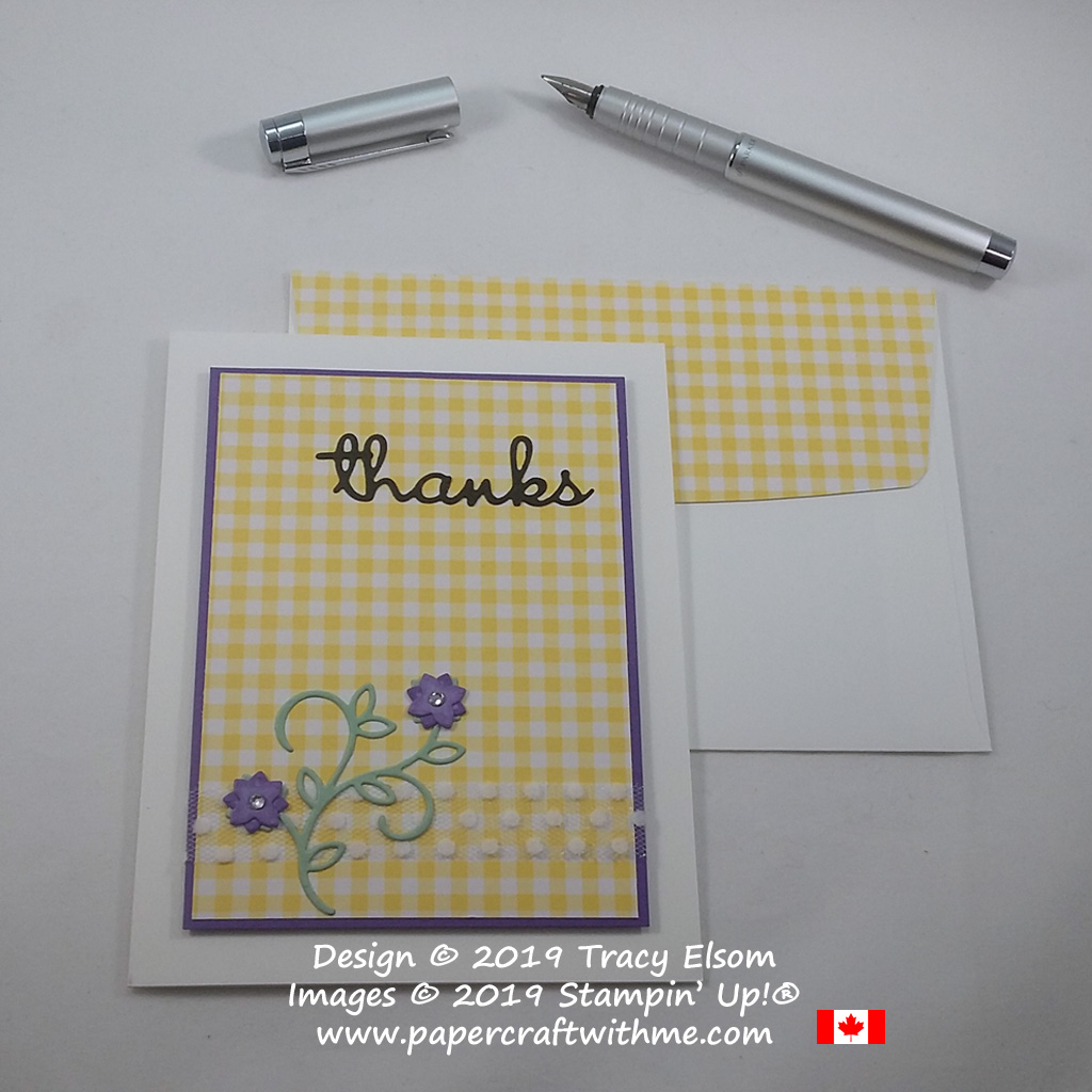 Gingham thank you card created using the Well Written Framelits Dies from Stampin' Up!