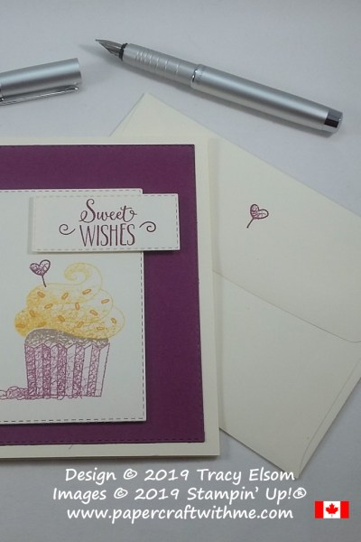 Close up of sweet wishes card created using the Hello Cupcake Stamp Set and Rectangle Stitched Framelits Dies from Stampin' Up!