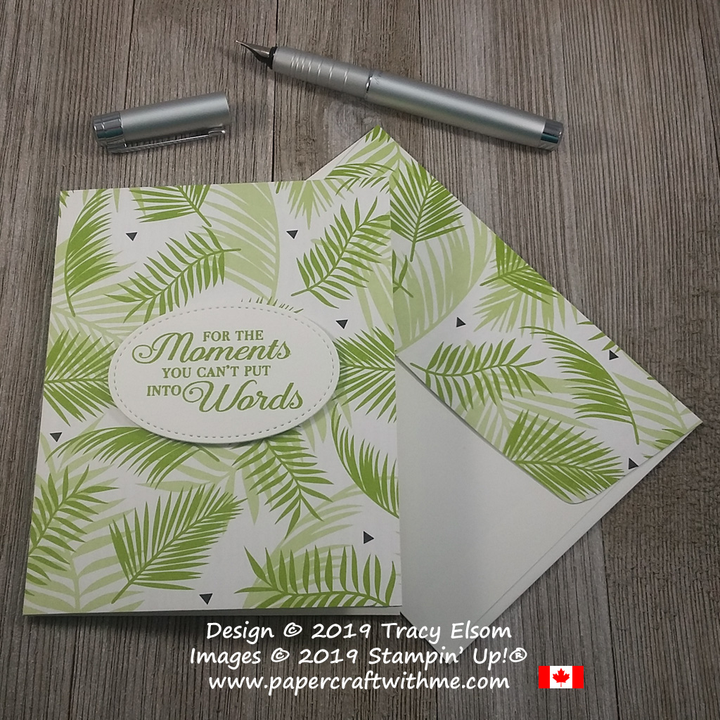 Simple card with 'For the moments you can't put into words' sentiment from the Lasting Lily Stamp Set, and leafy background from the Tropical Escape DSP from Stampin' Up!