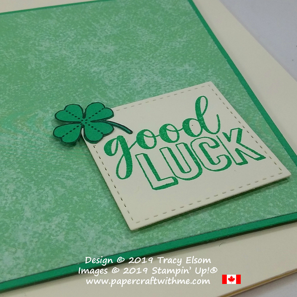 Close up of simple good luck card created using the Amazing Life Stamp Set from Stampin' Up!