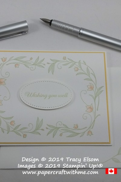 Simple card created using floral images from the His Grace Stamp Set and wishing you well sentiment from the free Lasting Lily Stamp Set from Stampin' Up!