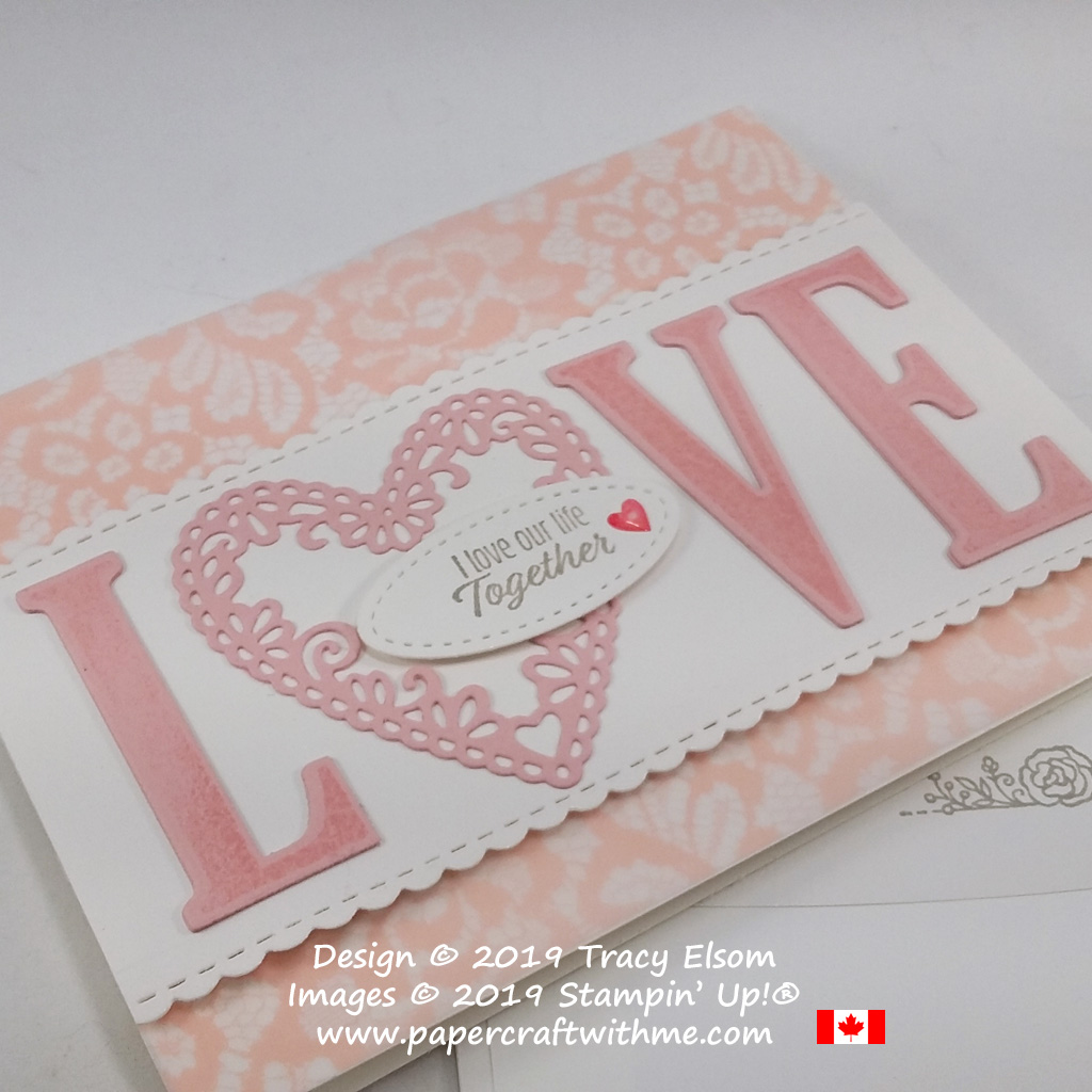 Close up of Valentine's Day card created using the Meant To Be Stamp Set and coordinating Be Mine Framelits Dies from Stampin' Up!