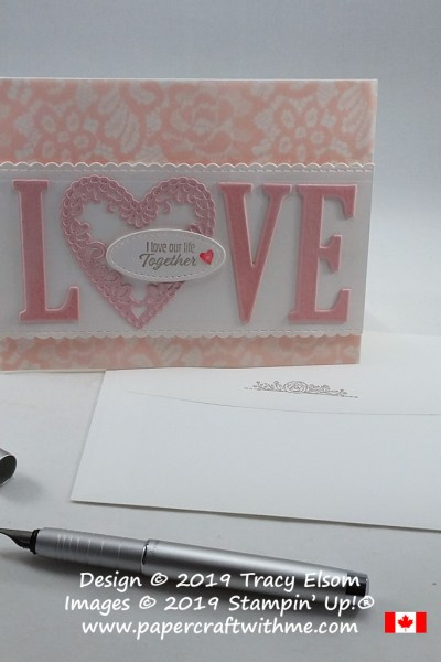 Valentine's Day card created using the Meant To Be Stamp Set and coordinating Be Mine Framelits Dies, with Letters For You Stamp Set and coordinating Large Letters Framelits, all from Stampin' Up!