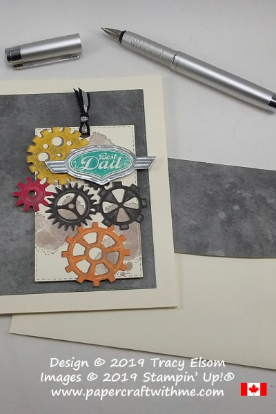 Best Dad card created using the Geared Up Garage Stamp Set. The coordinating Garage Gears Thinlits also cut out the Classic Garage Designer Series Paper. All from Stampin' Up!