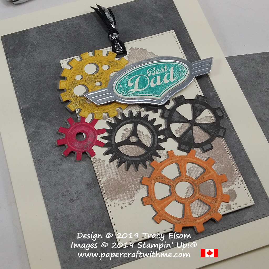 Close Up of Best Dad card created using the Geared Up Garage Stamp Set. The coordinating Garage Gears Thinlits also cut out the Classic Garage Designer Series Paper. All from Stampin' Up!