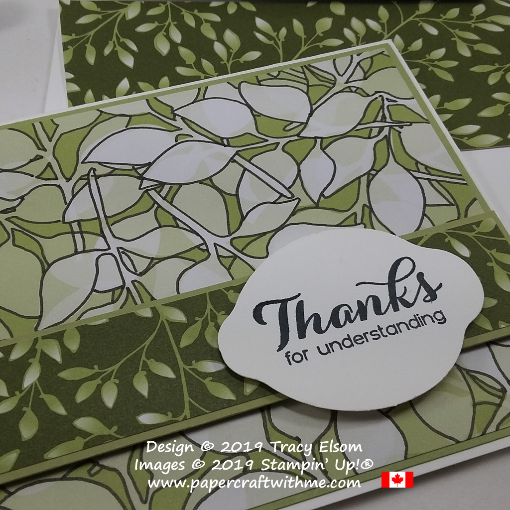 Close up of thank you card created with altered Floral Romance DSP and Vibrant Vases Stamp Set from Stampin' Up!