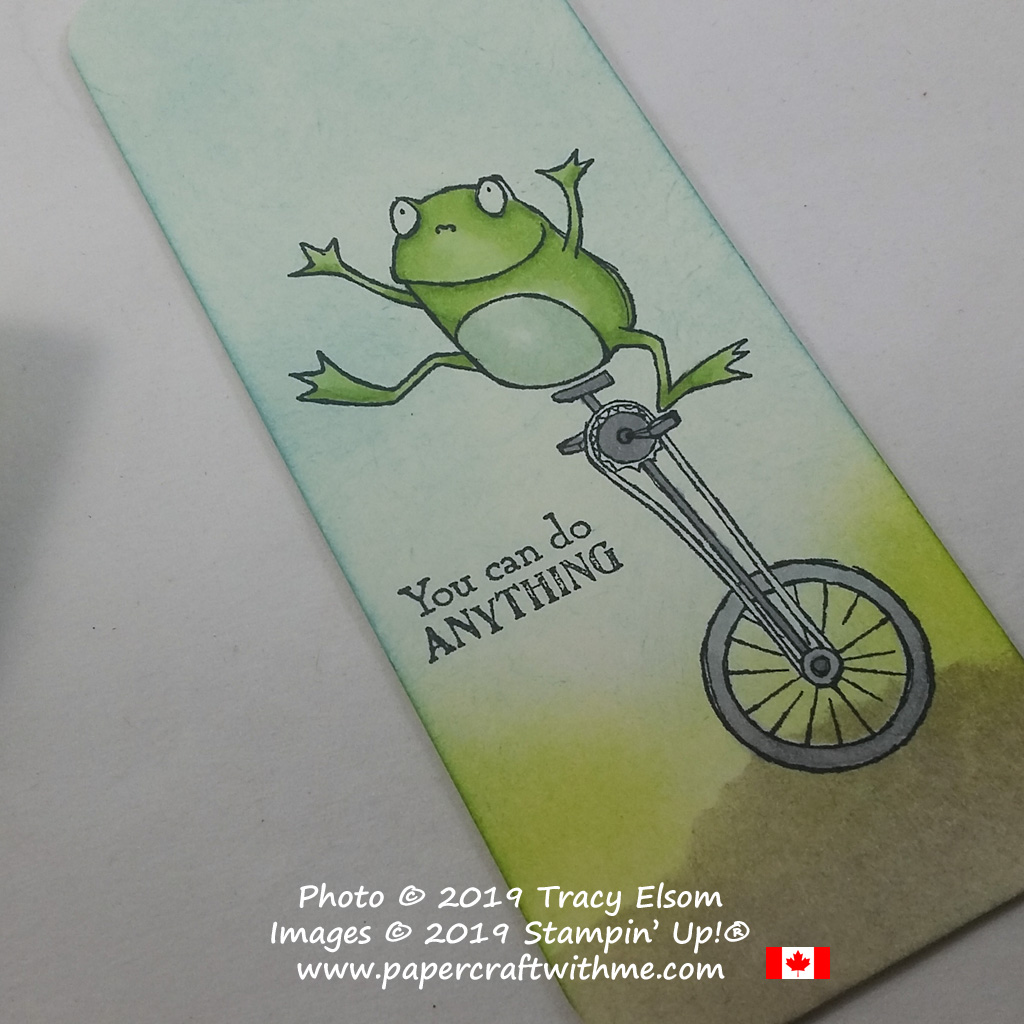 Close up of handmade bookmark featuring the frog on a unicycle image from the So Hoppy Stamp Set from Stampin' Up!