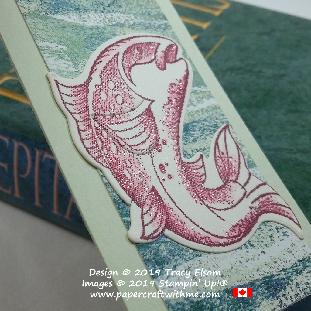 Close up of fishing themed bookmark with leaping fish created using the Best Catch Stamp Set and coordinating Catch of the Day Thinlits Dies from Stampin' Up!