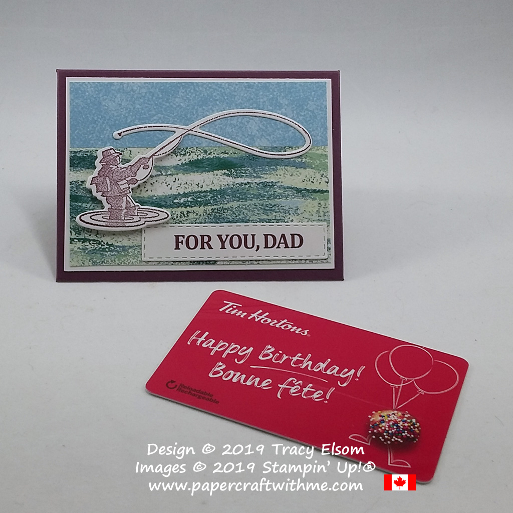 Gift card holder for Dad featuring a fly fisherman from the Best Catch Stamp Set and coordinating Catch of the Day Framelits from Stampin' Up!