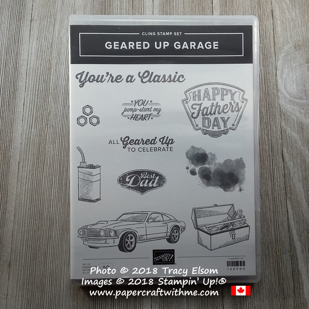 Geared Up Garage Stamp Set from Stampin' Up! (coordinating Garage Gears Thinlits Dies also available). Buy online for delivery anywhere in Canada at www.papercraftwithme.com