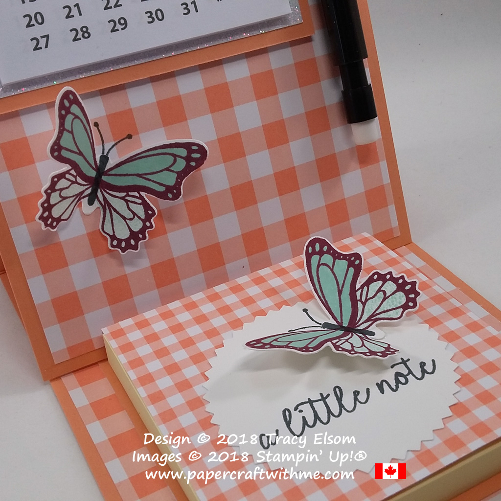 Close up of easel card with 2019 calendar and Post-It note pad created using the Butterfly Gala Stamp Set and Gingham Gala DSP from Stampin' Up!