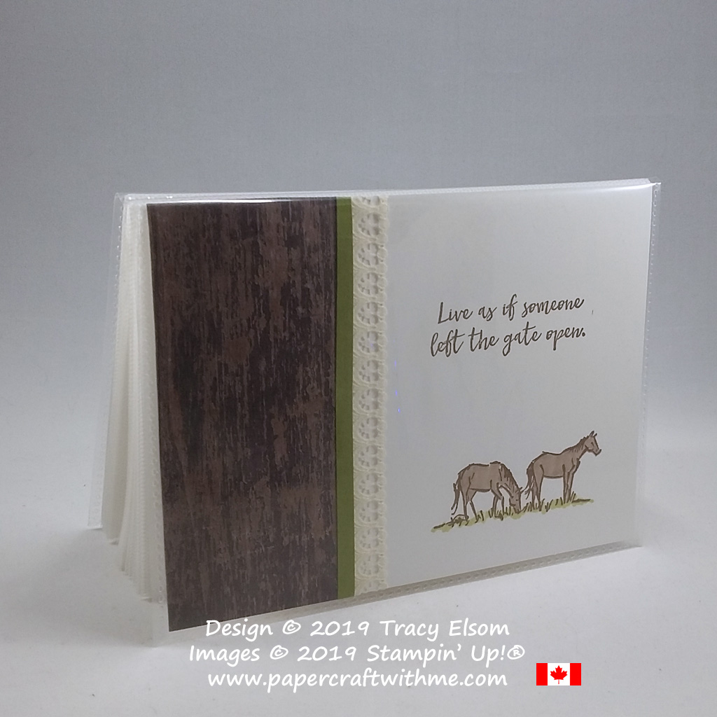 Keep those memories safe with this mini photo album decorated with grazing horses image and sentiment from the Let It Ride Stamp Set from Stampin' Up!