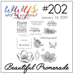 What Will You Stamp? Challenge logo #WWYS202 - Beautiful Promenade (Jan 14 to 19, 2019)