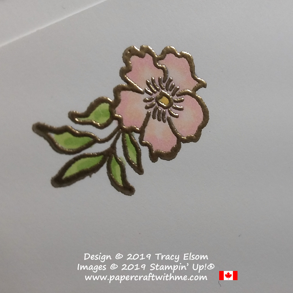 Small gold embossed flower image from the free Lovely Lattice Stamp Set from Stampin' Up!