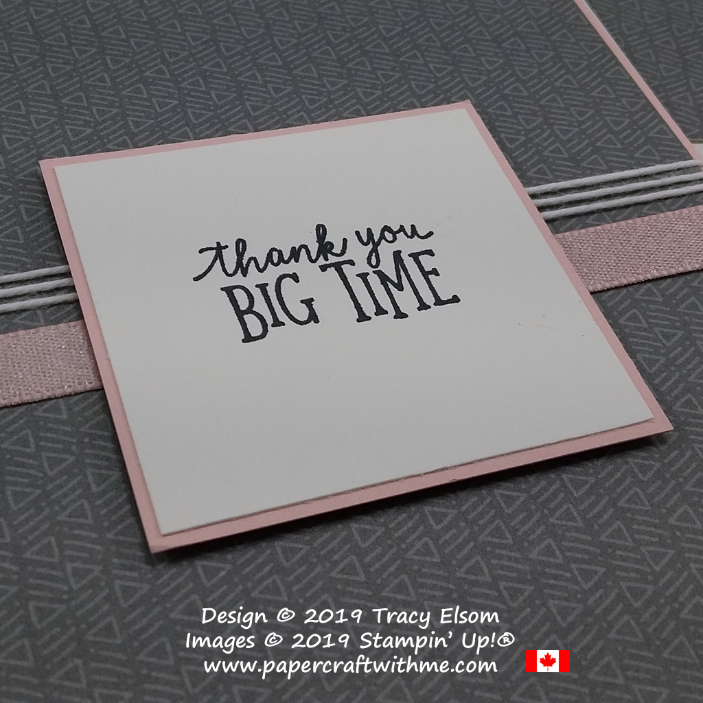 Close up of simple pink and grey card with Thank You Big Time sentiment from the Animal Outing Stamp Set from Stampin' Up!.