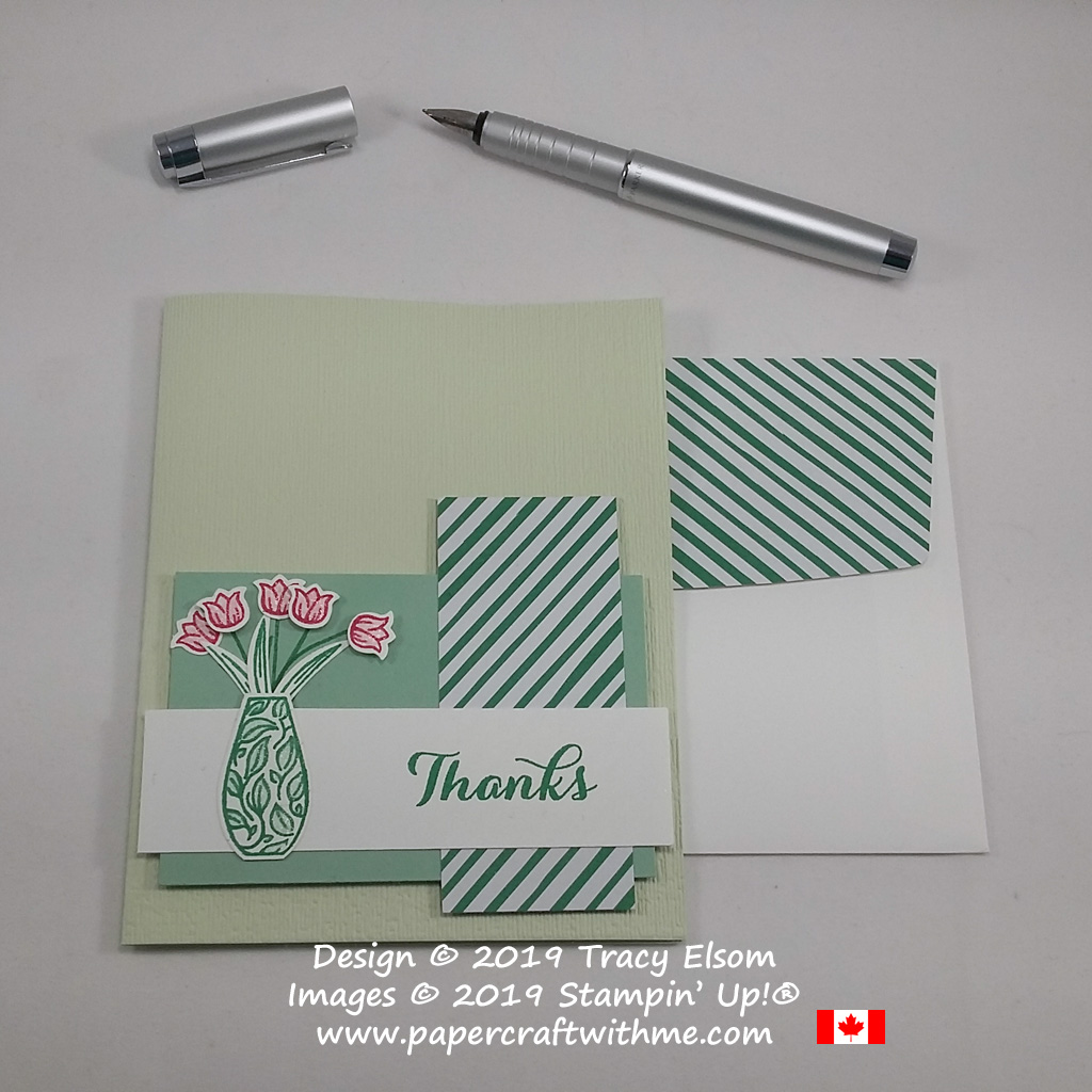 Tulip thanks card in shades of green (with a pop of red) created using the Vibrant Vases Stamp Set and coordinating Vases Builder Punch from Stampin' Up!