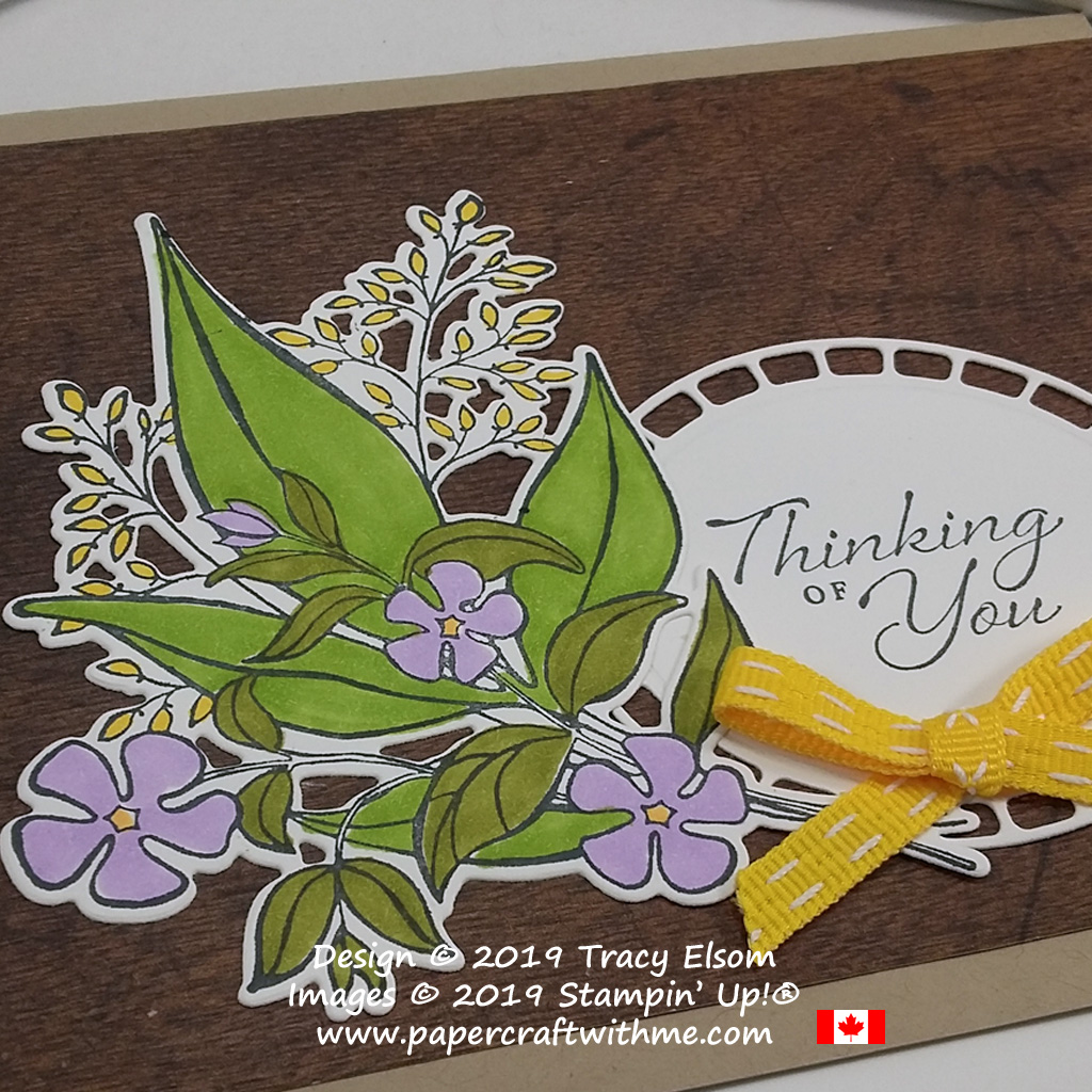 Close up of Thinking of You card created using Stampin' Blends with the Wonderful Romance Stamp Set and coordinating Wonderful Floral Framelits Dies from Stampin' Up!