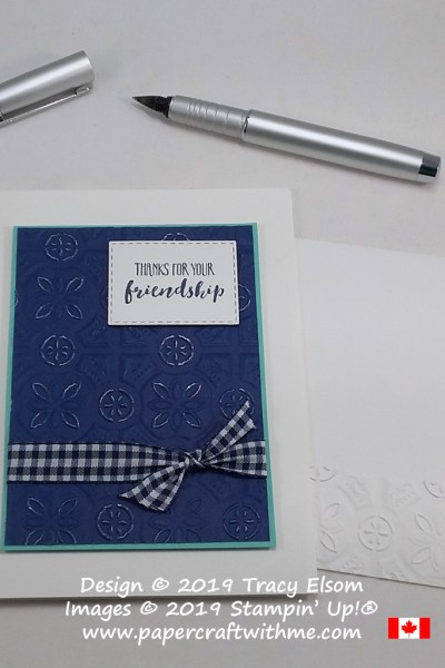 Friendship thanks card created with the free Home To Roost Stamp Set and distressed background using the Tin Tile Dynamic Embossing Folder from Stampin' Up!